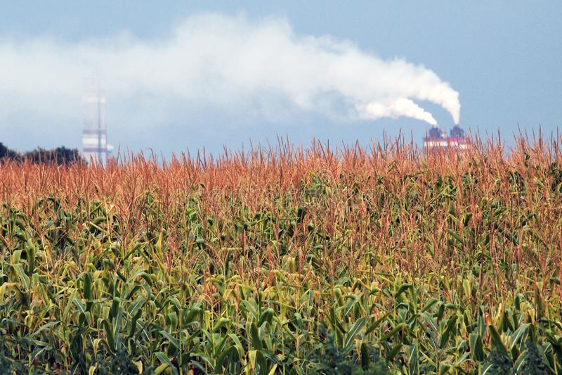 白色,厚实,毒性烟从工厂烟囱发出 免版税库存照片
