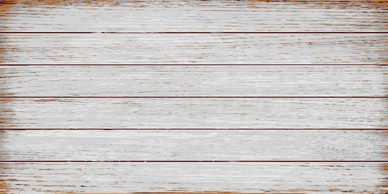 白色,灰色木纹理,老被绘的板条 向量例证