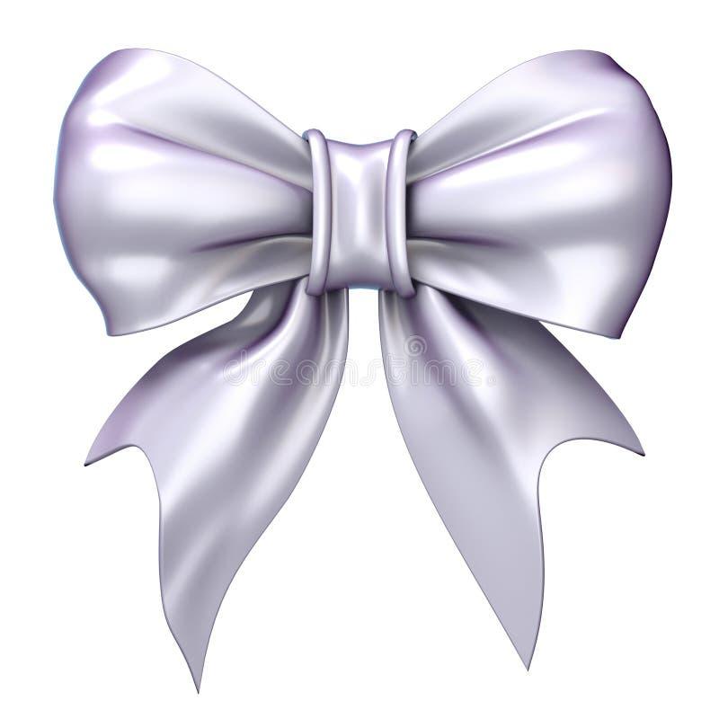 白色,缎,光滑的丝带弓 3d 库存例证