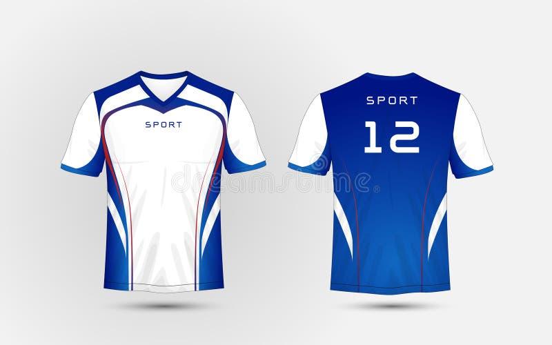 白色,蓝色和红线仿造体育橄榄球成套工具,球衣, T恤杉设计模板 库存例证