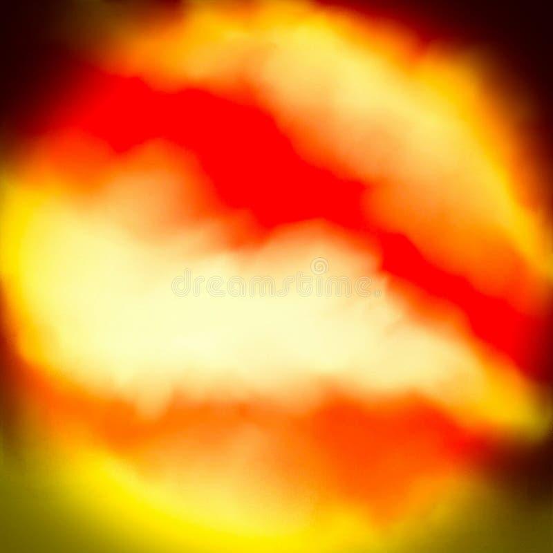 白色,黄色,红色和黑背景、创造性的火、火焰和烟概念 向量例证