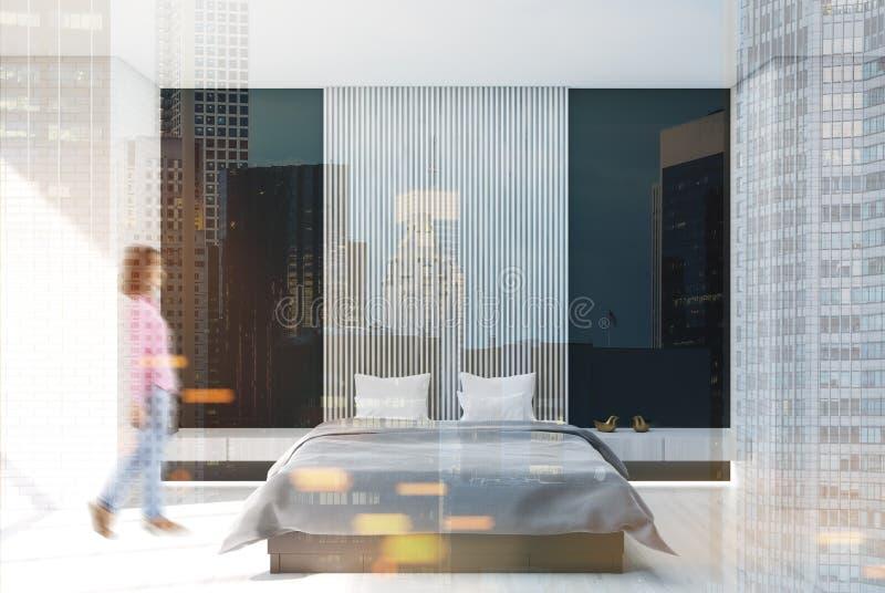 白色,黑和木卧室,被定调子的海报 皇族释放例证