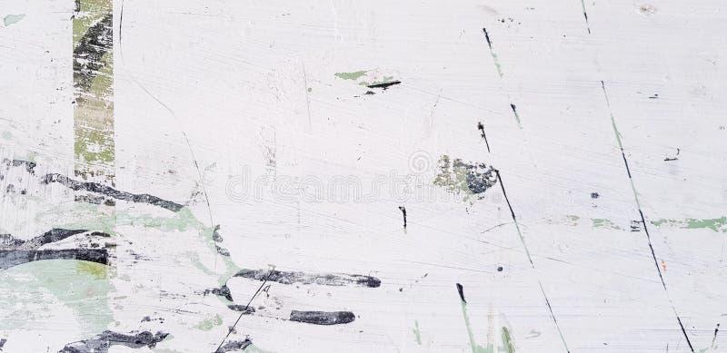 白色,黑和绿色艺术摘要抓痕或标记表面上与拷贝空间 库存例证