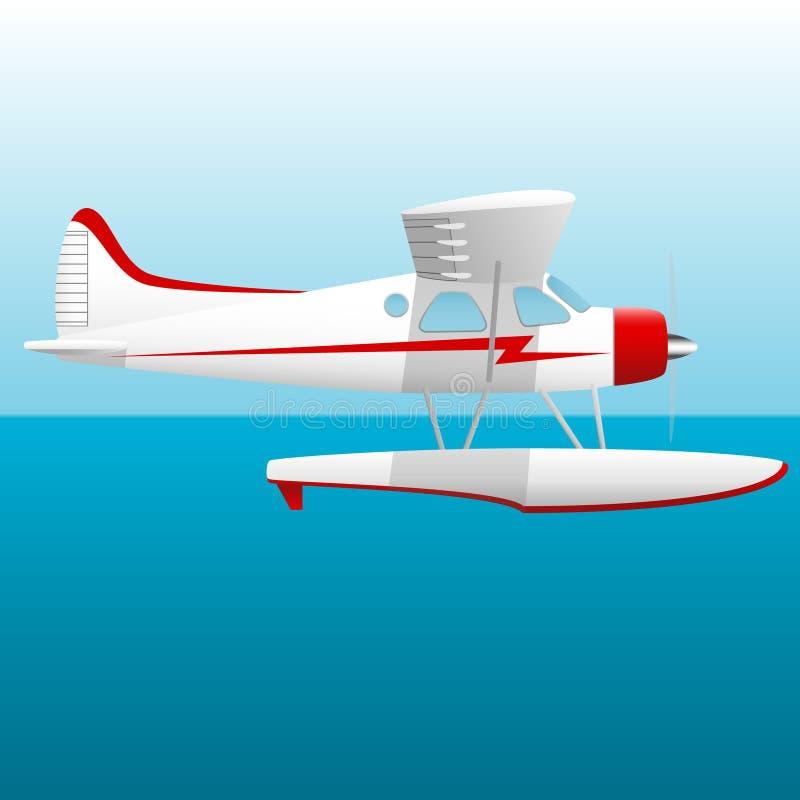 白色水上飞机 在天空的水上飞机在海 蓝色云彩图象彩虹天空向量 皇族释放例证