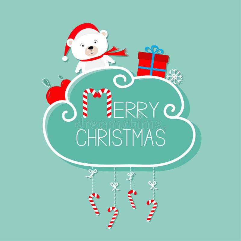 白色婴孩熊, giftbox,雪花,球 圣诞快乐看板卡 棒棒糖停止 与弓的破折号线 平的设计 蓝色backgro 库存例证
