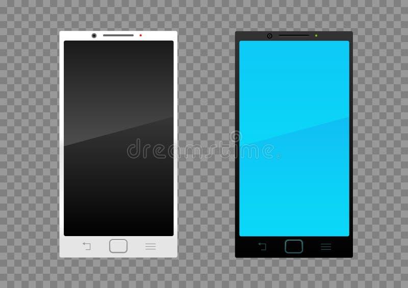 白色黑智能手机 向量例证