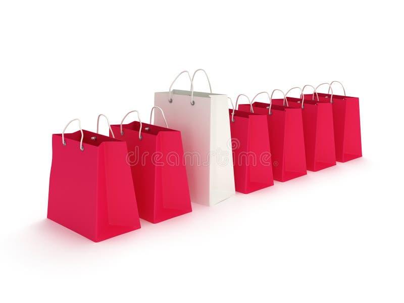 白色购物袋连续绯红色袋子 向量例证