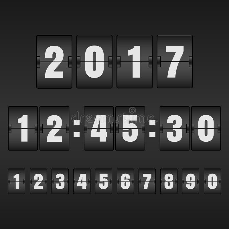 白色读秒定时器和机械记分牌与另外n 库存例证