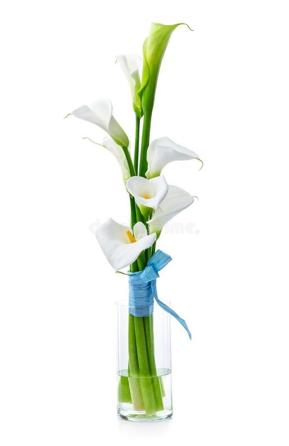 白色水芋百合花束在玻璃花瓶的 免版税库存图片