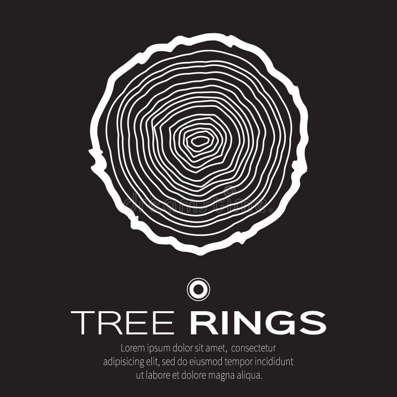 白色年轮背景和锯裁减树干、林业和锯木厂 向量例证
