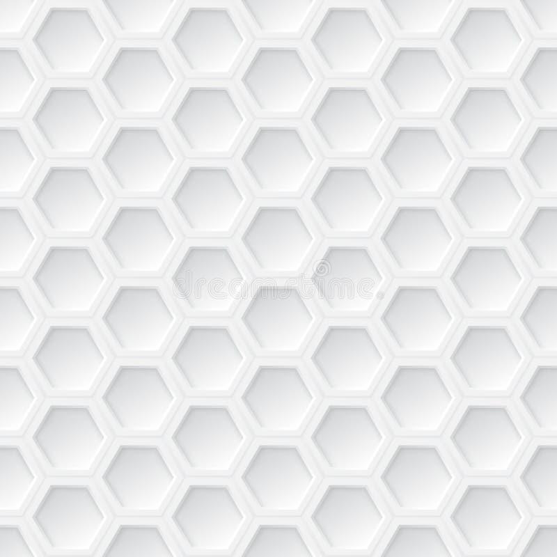 白色3d六角形无缝的样式 皇族释放例证