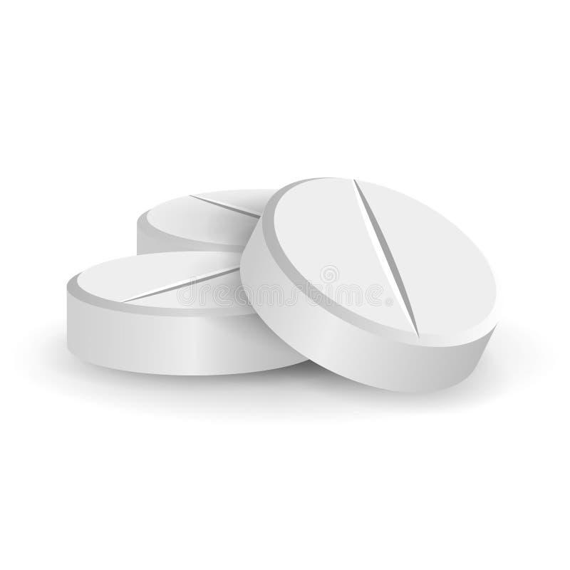 白色3D医疗药片或药物导航例证 用不同的位置设置的片剂被隔绝在白色背景 维生素和 库存例证