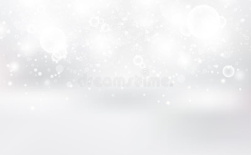 白色Bokeh,抽象背景,银星闪烁的散点奢华装饰,圣诞冬季节假日矢量图 向量例证