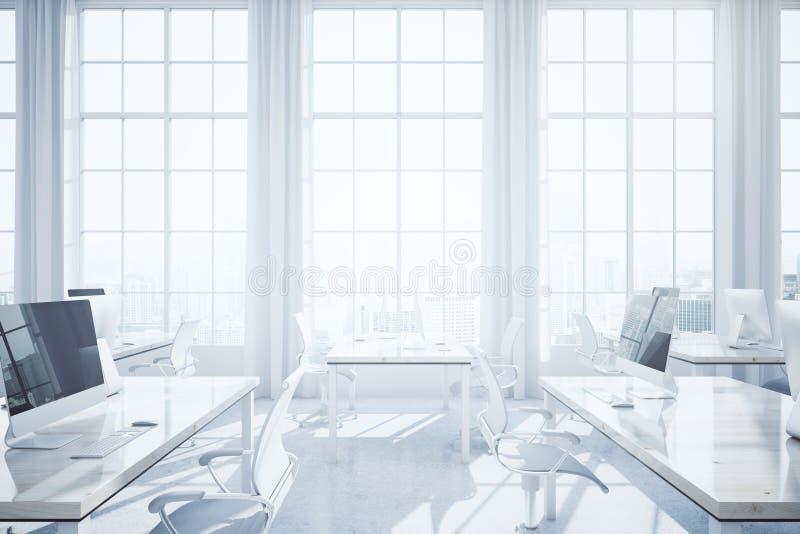 白色coworking的办公室内部 皇族释放例证