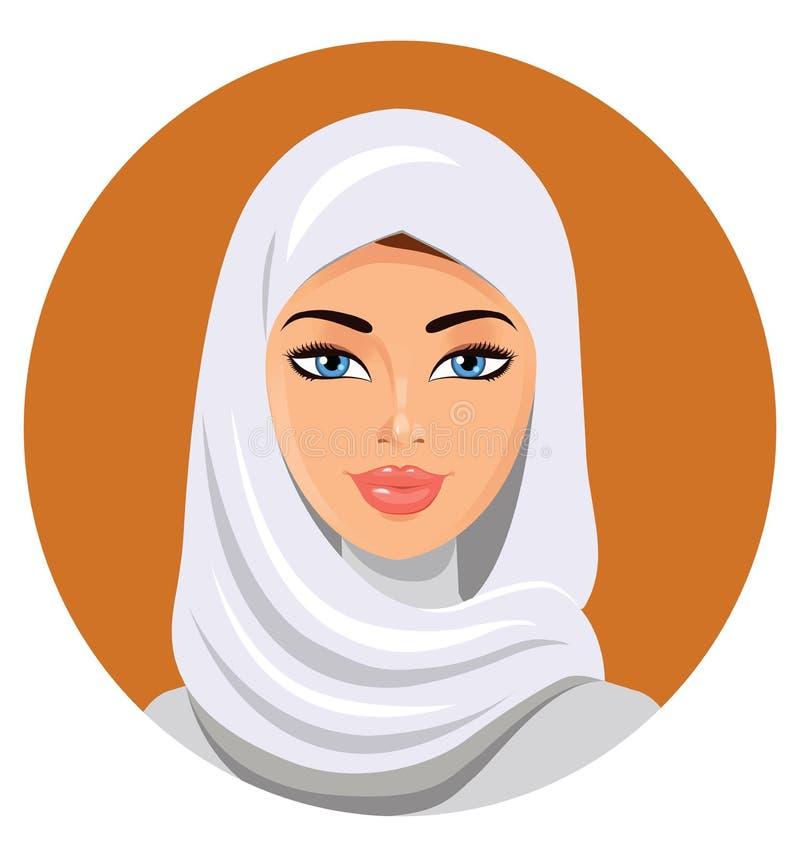 白色hijab传染媒介例证的美丽的回教妇女 库存例证