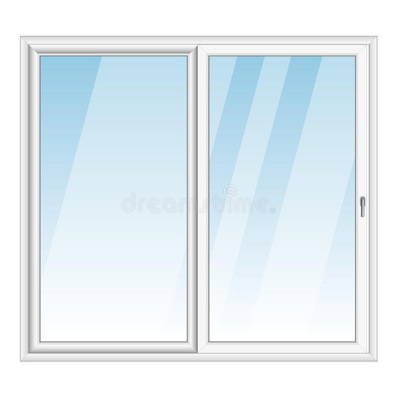 白色PVC传染媒介凸出的三面窗 向量例证