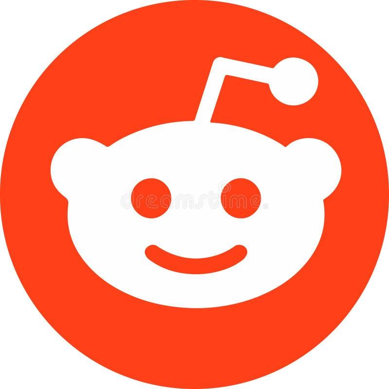 白色Reddit平的圈子的象橙色和 库存例证