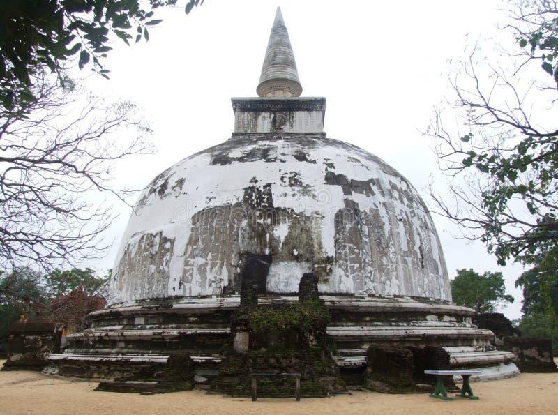白色Stupa在Polonnaruwa 免版税库存照片