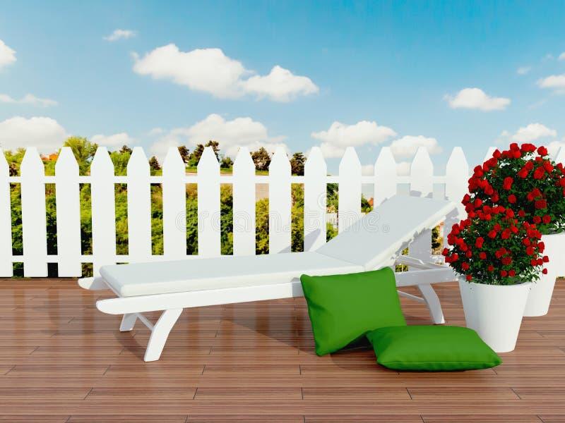白色sunlounger和玫瑰。 皇族释放例证