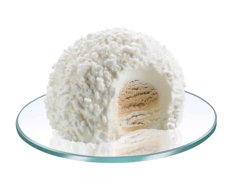 白色Tartufo冰淇淋冷甜点 免版税库存图片