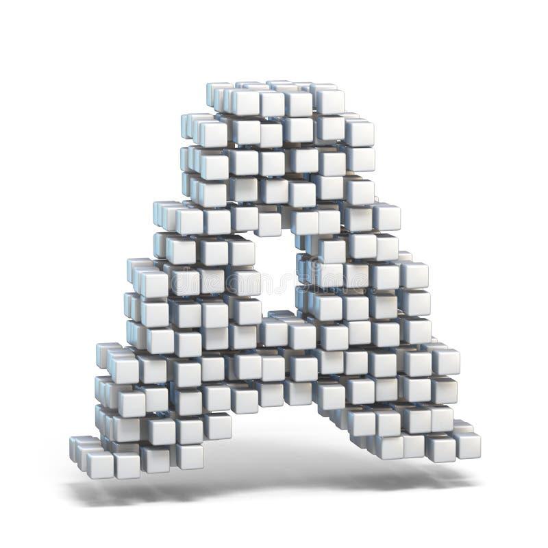 白色voxel求字体信件的立方3D 向量例证