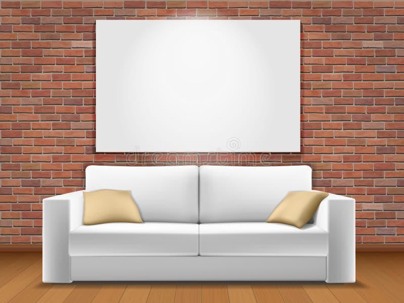 白色wal沙发的红砖 皇族释放例证