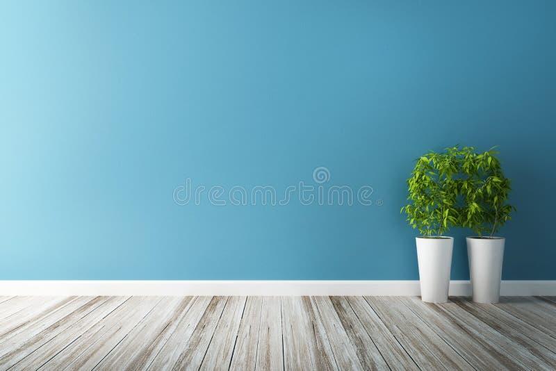 白花剧情和蓝色墙壁内部 库存例证