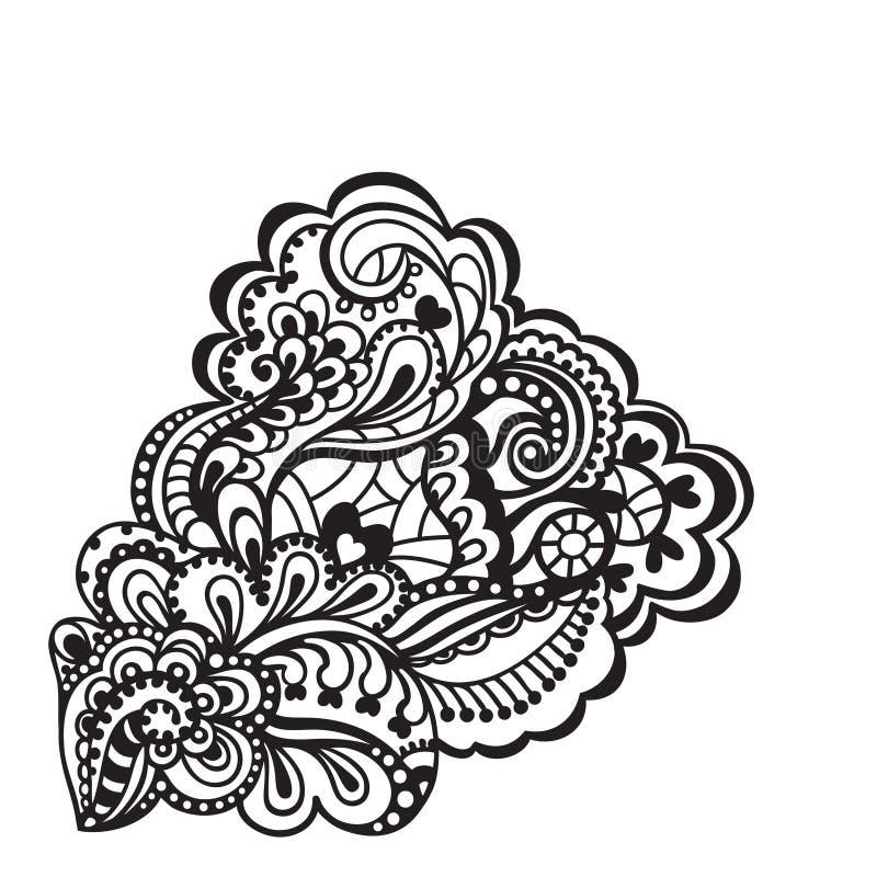 黑白花卉设计元素。 皇族释放例证