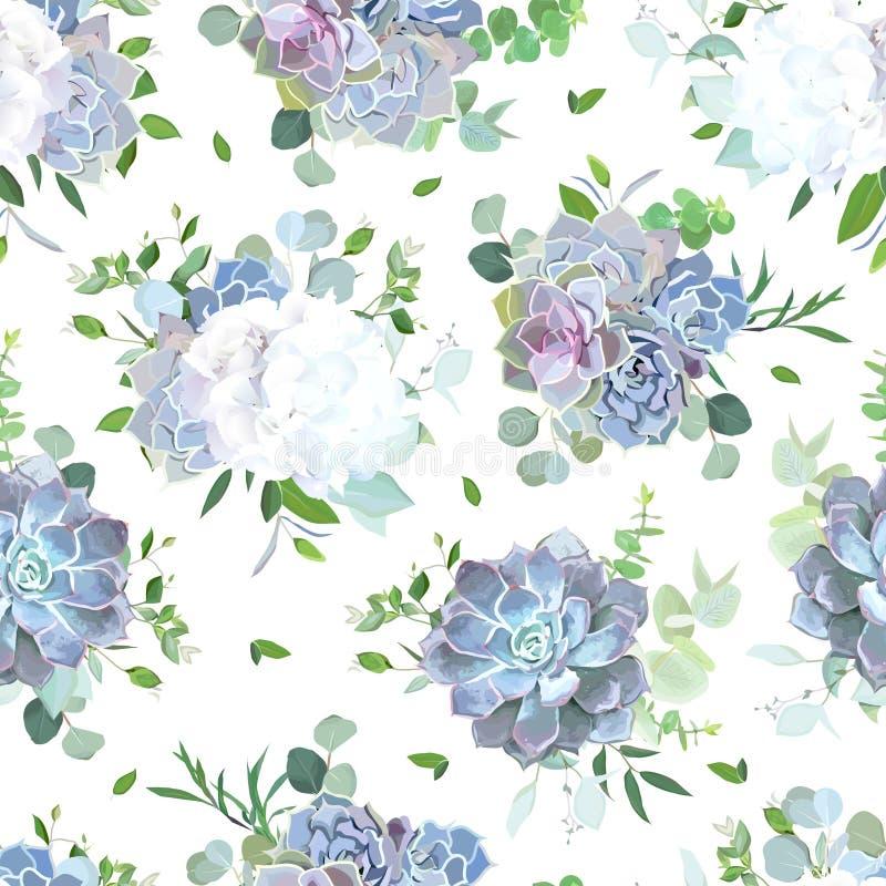 白花和蓝色,淡紫色多汁植物无缝的传染媒介设计 库存例证