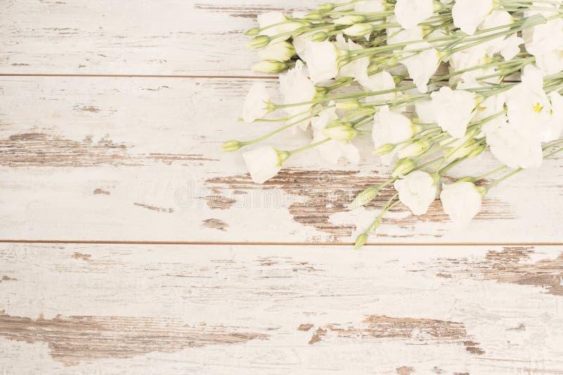 白花惊人的新鲜的花束在轻的土气木背景的 复制空间,花卉框架 婚礼,礼品券,华伦泰 免版税库存照片