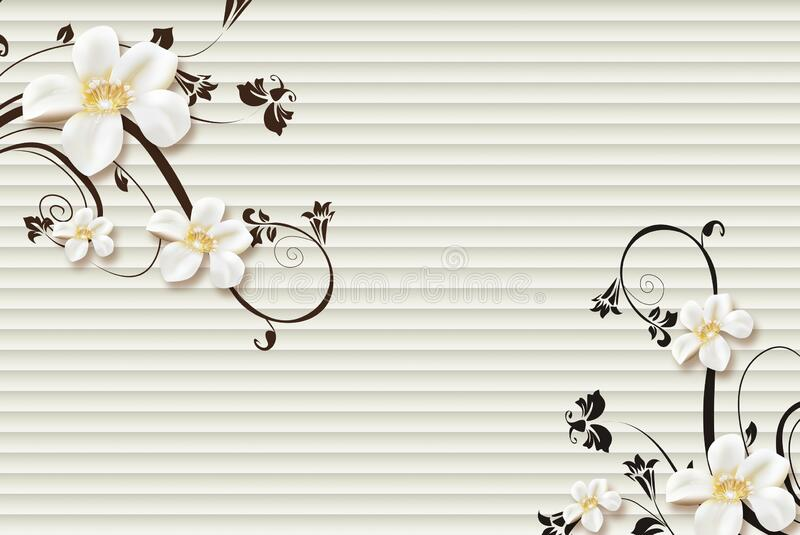 白花黑枝的3D壁画 white modern lines background 皇族释放例证