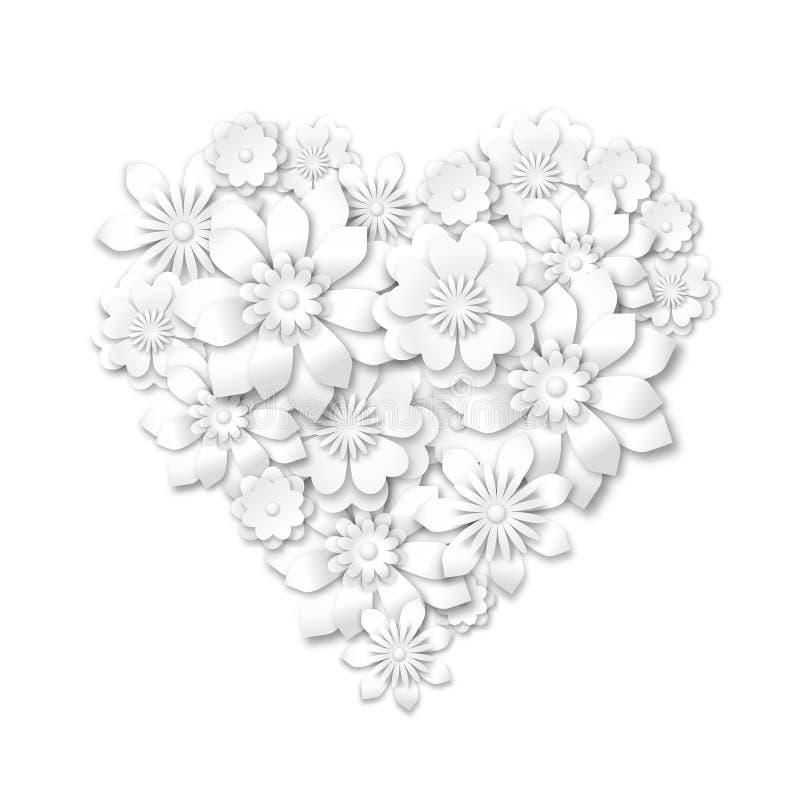 从白花组成的心脏形状 皇族释放例证