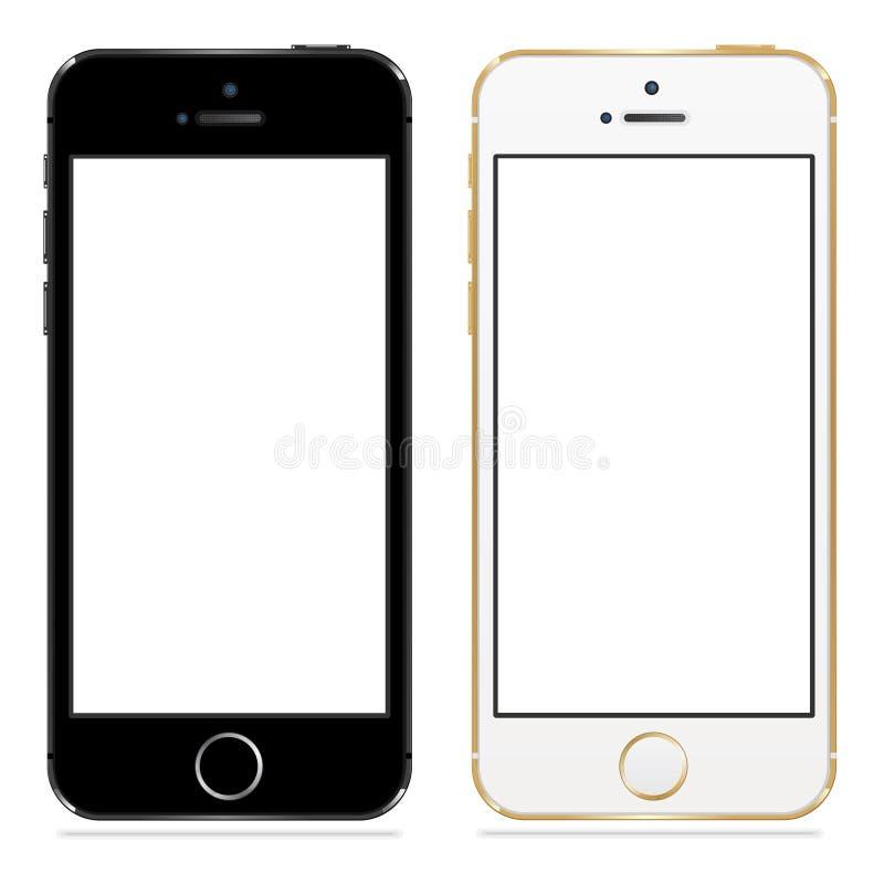 黑白苹果计算机的iphone 5s 向量例证