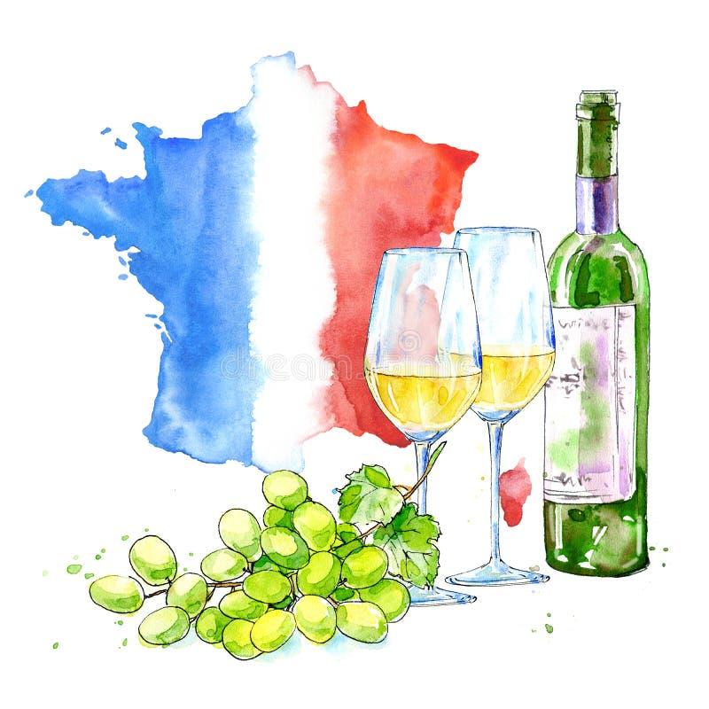 白葡萄酒、玻璃、法国的葡萄和地图 酒精饮料的图片 向量例证