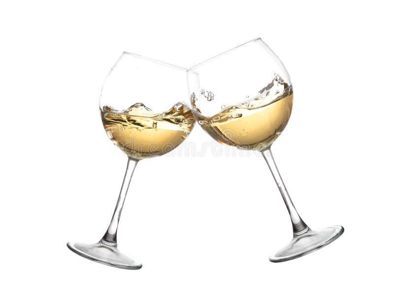 白葡萄酒汇集-欢呼!叮当声玻璃 图库摄影