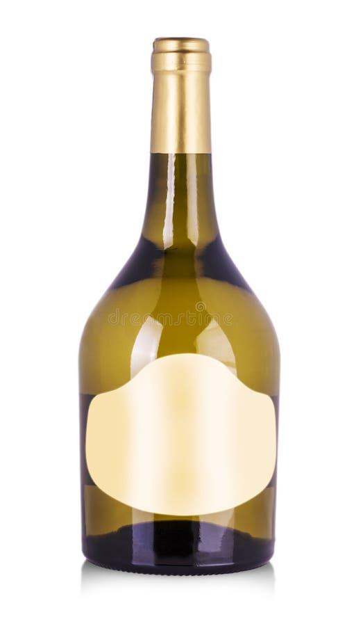 白葡萄酒瓶,有真正的纸空白的标签的 免版税库存照片