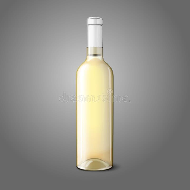 白葡萄酒的空白的现实瓶 向量 皇族释放例证