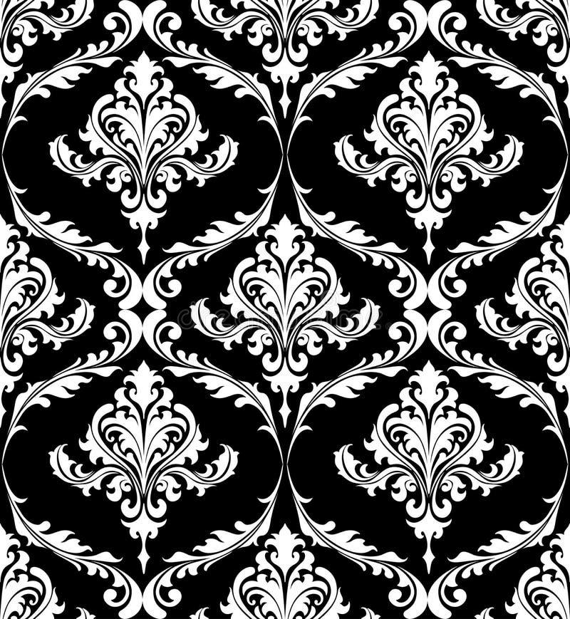 黑白葡萄酒锦缎样式 向量例证