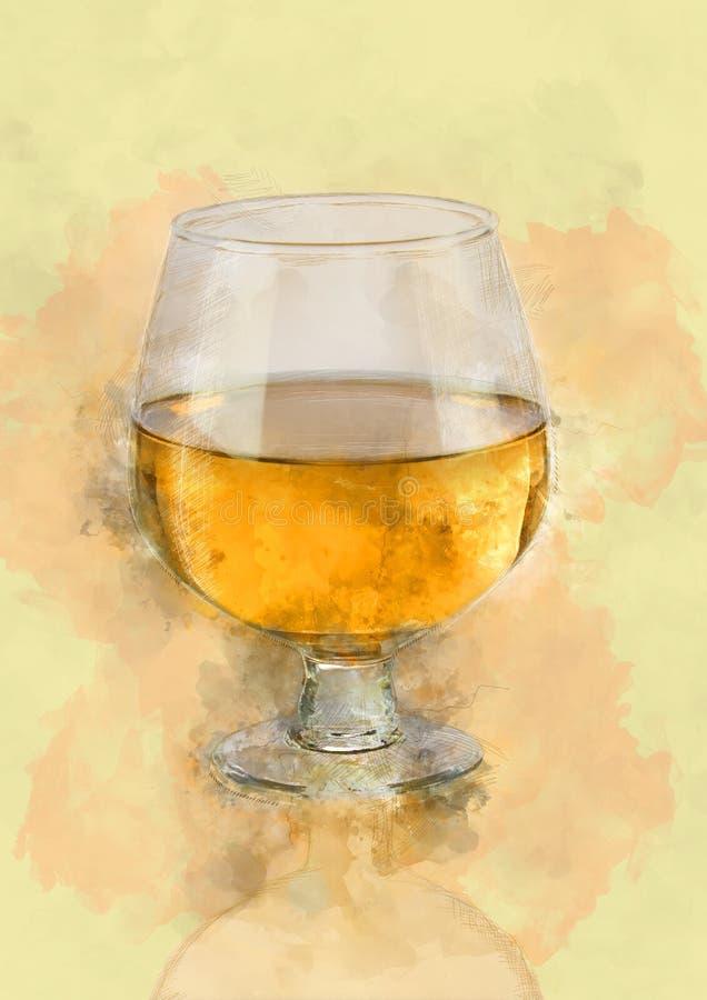 白葡萄酒玻璃有被弄脏的光Bokeh背景 向量例证