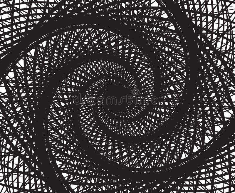 黑白螺旋旋转摘要的背景 库存例证