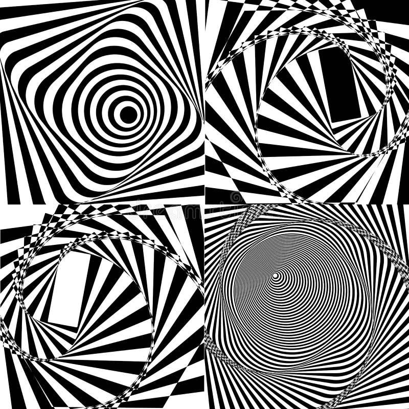 黑白螺旋隧道 向量 库存例证
