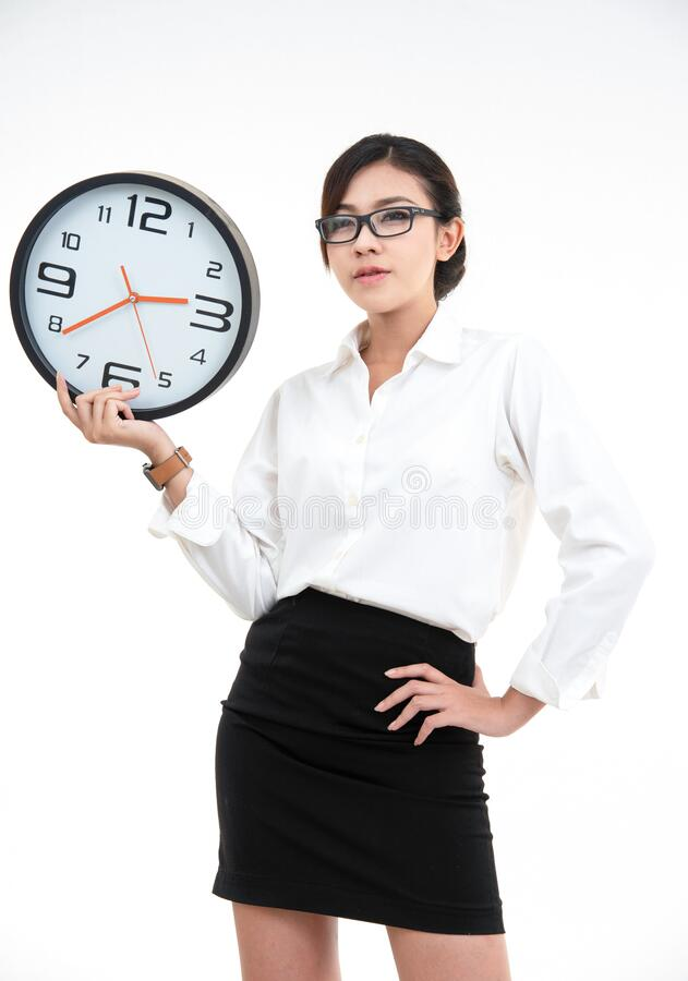 白衬衫黑短裙美亚女商人画像 库存图片