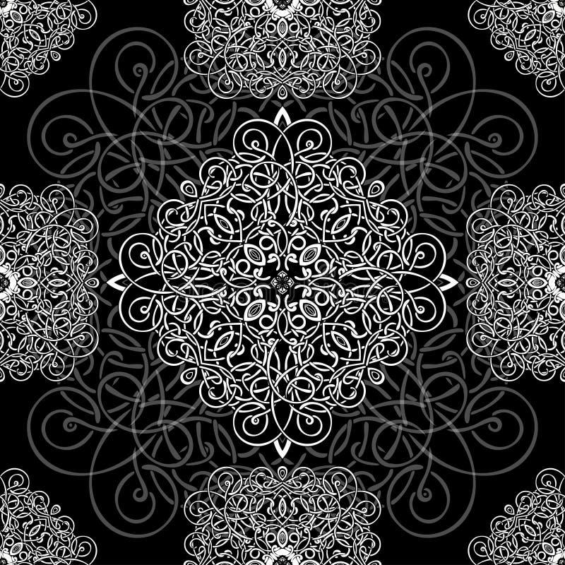 黑白装饰品,无缝的样式,传染媒介背景 在黑背景的白色柳条织法,单色 库存例证