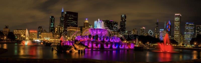 白金汉喷泉在街市芝加哥 库存照片