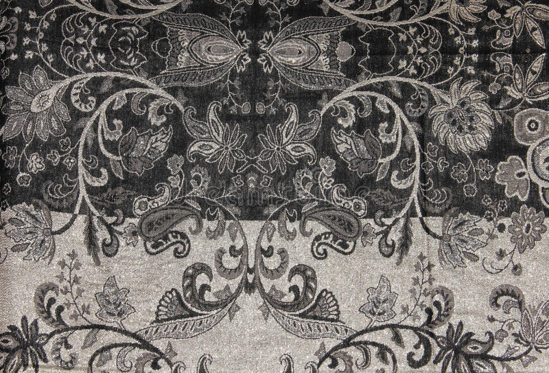 黑白金银细丝工的挂毯样式印刷品 免版税库存图片