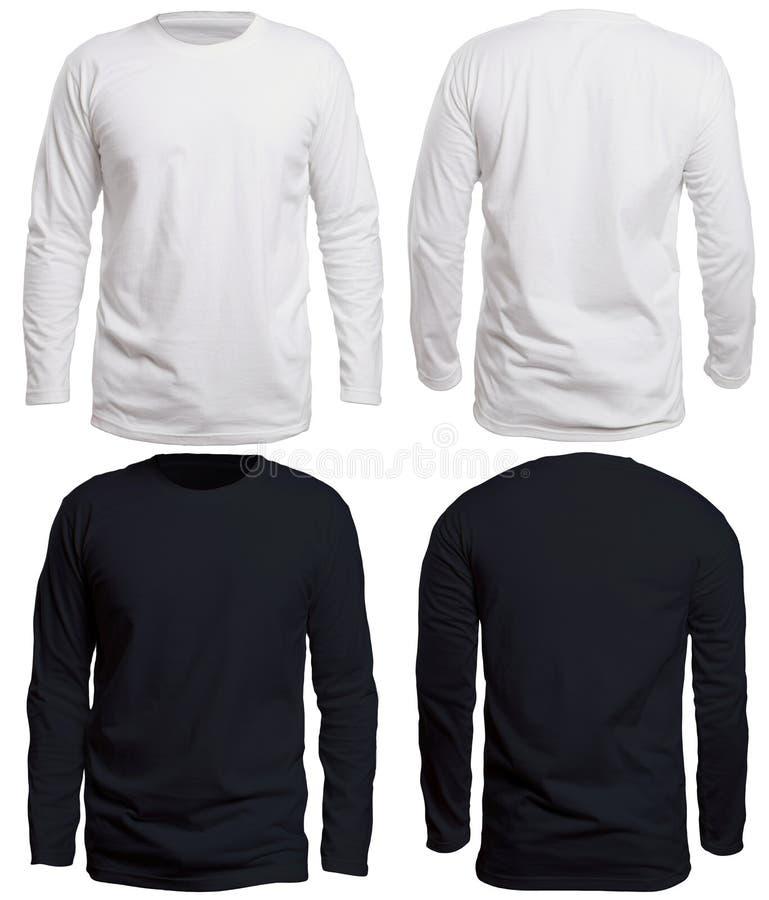 黑白长的袖子衬衣嘲笑 免版税库存照片