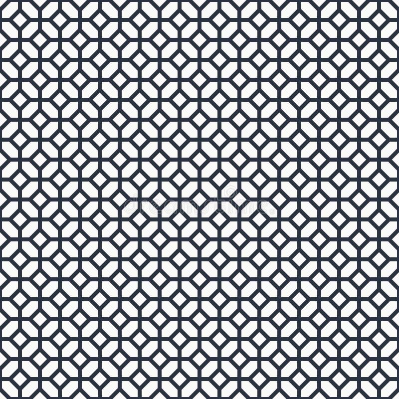 黑白阿拉伯传染媒介背景 单色伊斯兰教的无缝的样式 传统篱芭几何装饰品 皇族释放例证