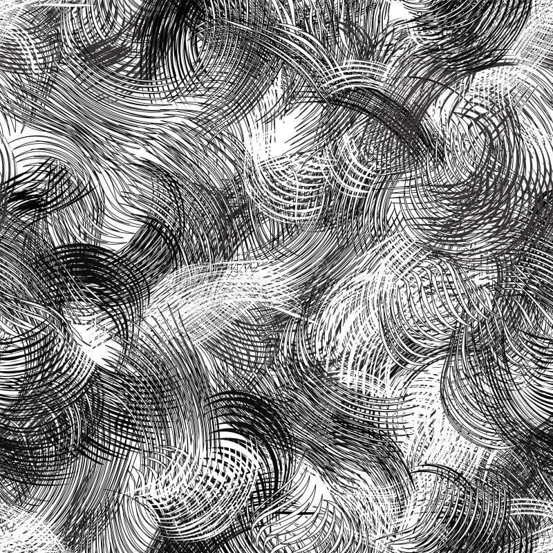 黑白难看的东西镶边的和波浪动态无缝的样式 皇族释放例证