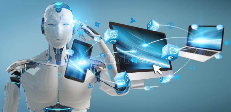 白靠机械装置维持生命的人连接的设备一起3D翻译 库存例证