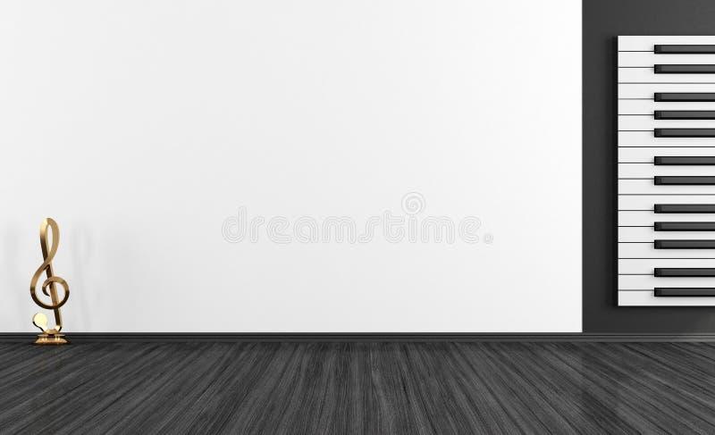 黑白音乐室 库存例证